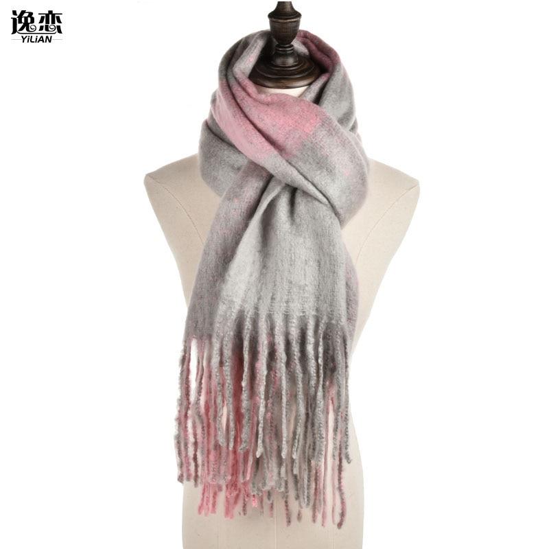 YILIAN Marka Kalın Kış Eşarp Kadınlar Ile Püsküller Çok - Elbise aksesuarları - Fotoğraf 3