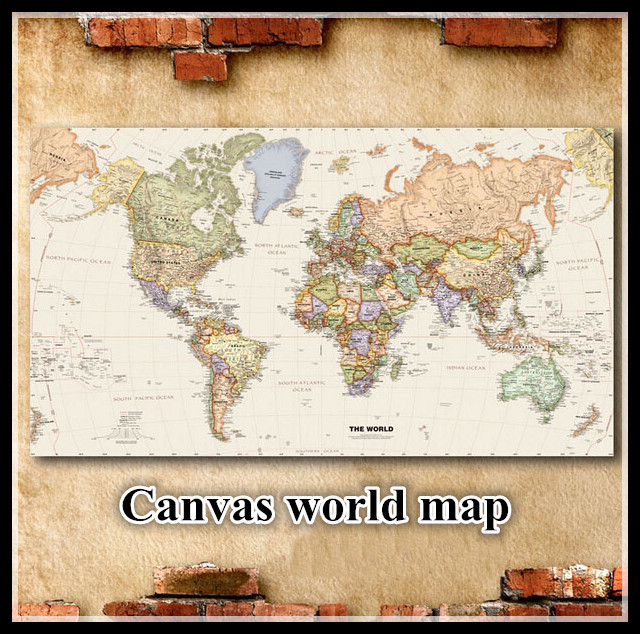 Map Of The World Decal.Map World Map House Decoration Canvas World Map Frameless Wall Decal