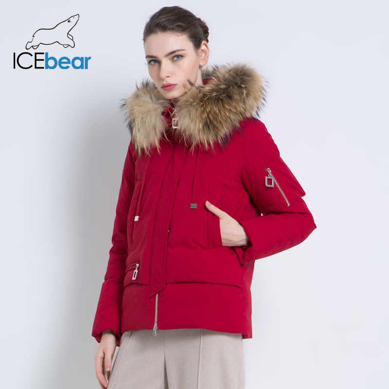 ICEbear 2019 새로운 겨울 모피 칼라 여성 자 켓 고품질 따뜻한 코트 세련 된 여자 파 카 브랜드 의류 GWD19062I