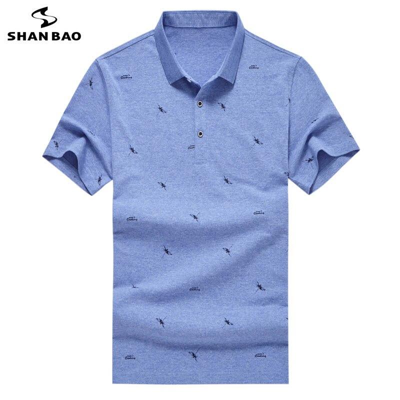 SHANBAO brand geometric printing business gentleman casual lapel   Polo   shirt 2019 summer new men's fashion short-sleeved   Polo