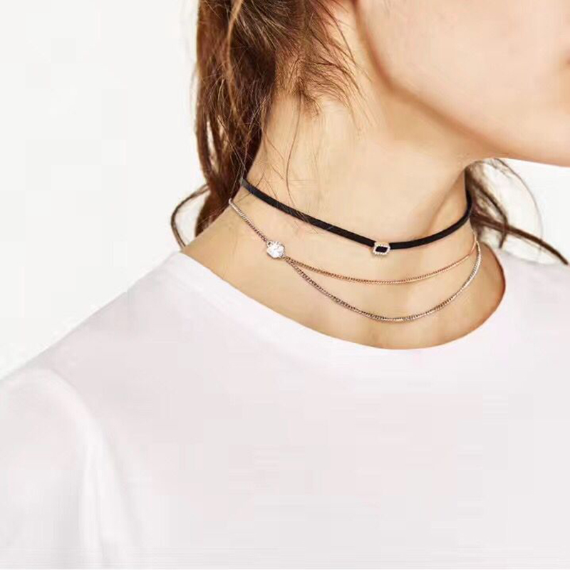 Best lady 2017 New Arrival Special Design Cheap Leather Chokers Necklace & Pendant 3 Pieces Collar Neck Chains Wholesale 5055