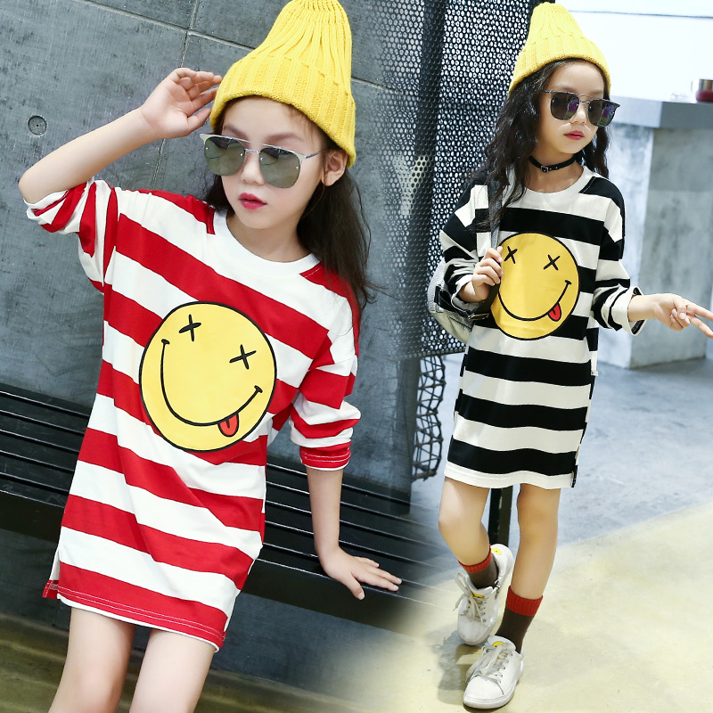 School T-Shirt For Girls Brand Cotton Kids Clothes 2018 Cotton Casual Girls Emoji Striped T-Shirt Long Sleeve Pullover Tops Tees