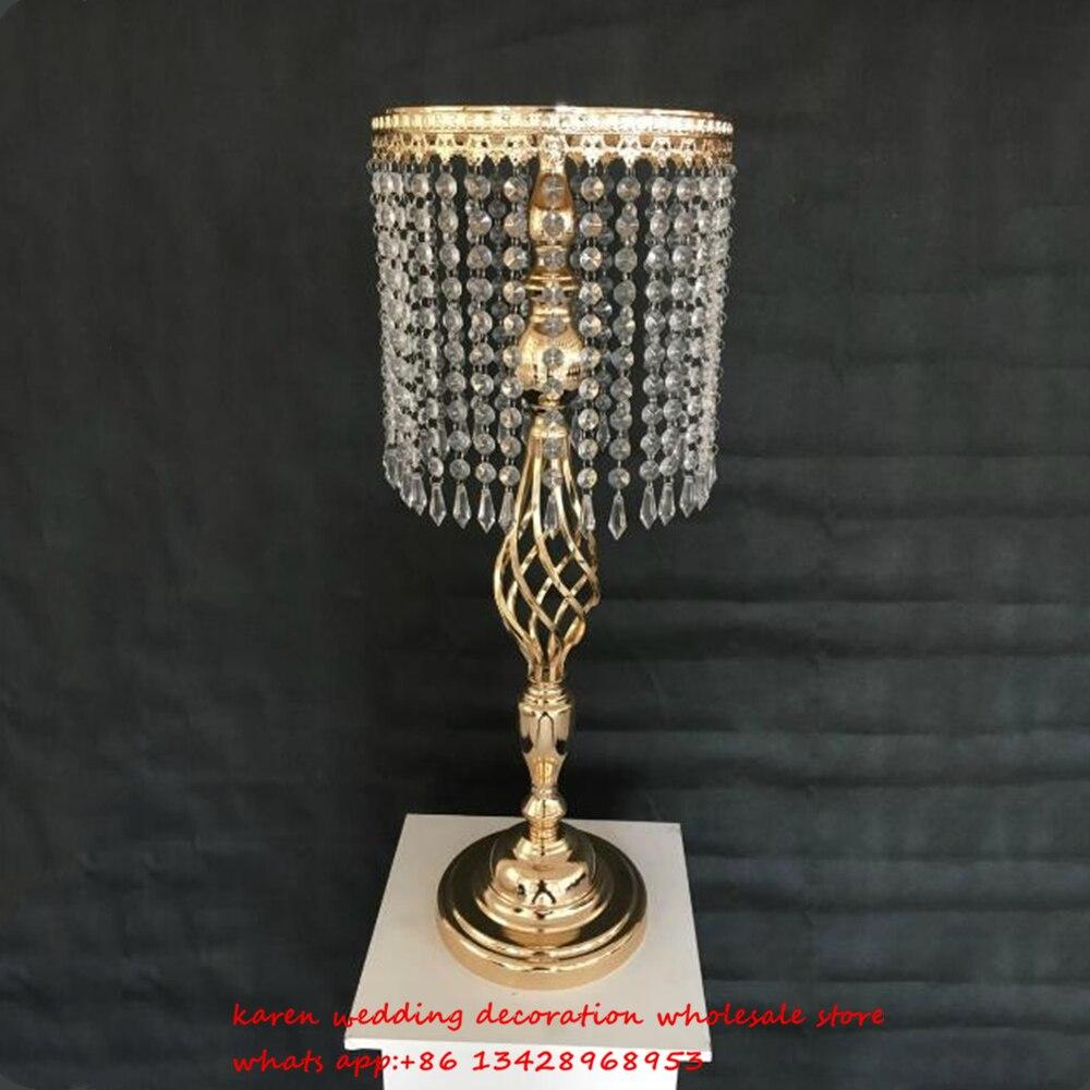 New 10 pcs metal gold crystal garland wedding centerpiece decoration flower stand wedding road lead