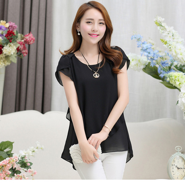 Women Blouse Shirts Summer Elegant Chiffon Blouse O-Neck Butterfly Short Sleeve Lady Clothing Blusas Femininas Casual Loose Tops