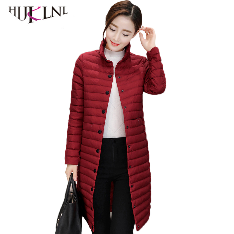 HIJKLNL Ultra Light   Down   Jacket Women Winter White Duck   Down     Coat   2019 Single Breated Long Puffer Jacket Parka Mujer YR067