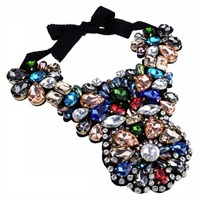 Luxury 2015 Spring New Women Party Jewelry Design Statement Chokers Collar Multicolor Crystal Gems Big Pendants