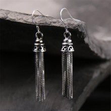 Antique 925 Sterling Silver Earrings Jewelry Accessories Long Metal Chain Tassel For Women Vintage