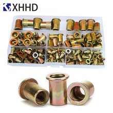 Flat Head Rivet Nut Metric Thread Nutsert Riveting Insert Nut Set Assortment Kit Carbon steel Zinc Plated M3 M4 M5 M6 M8 M10 M12 metric thread m3 m4 m5 m6 m8 m10 m12 304 stainless steel blind insert rivet nut rivnut brand new