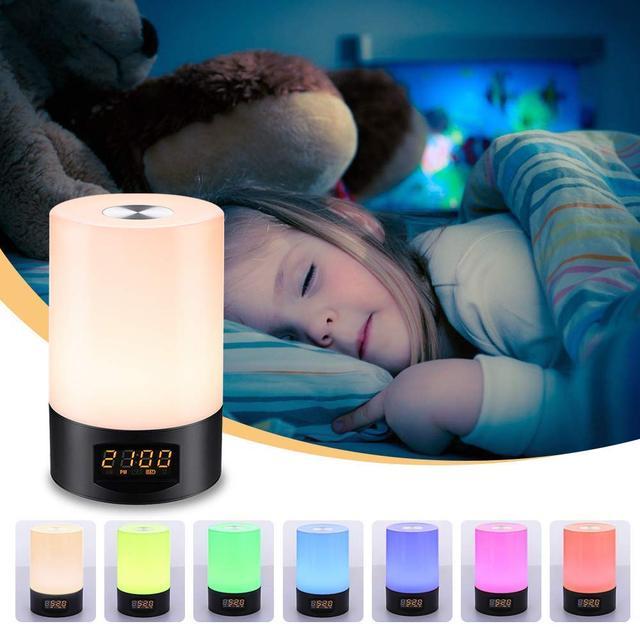 ABKM Hot Digital LED Sunrise budzik-zegar Radio FM do sypialni-wiele dźwięków natury symulacja zachodu słońca i prasa Cont