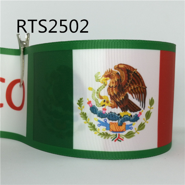 Free shipping 50yard roll 3 inch 75mm Mexican flag printed grosgrain ribbon