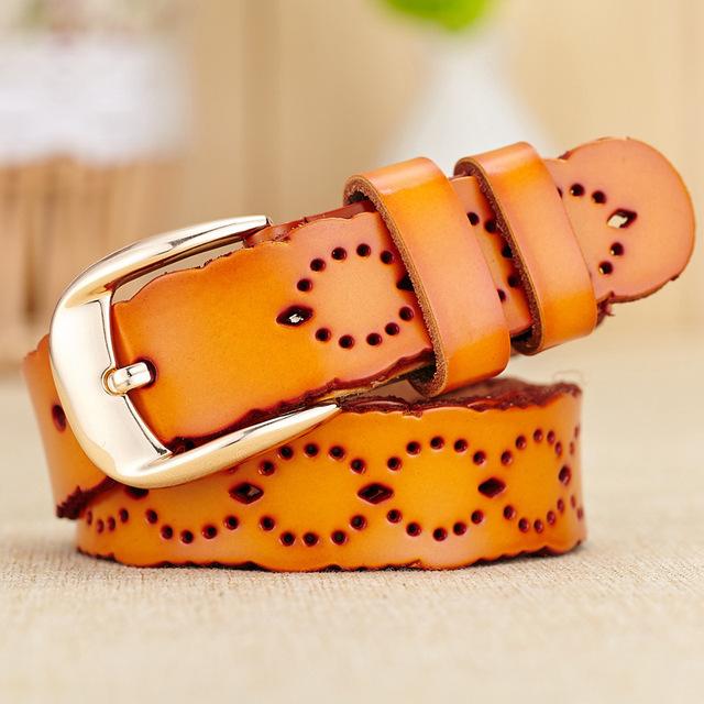 100% cintos de couro genuíno para as mulheres do vintage da moda oco pin fivela designer de mulheres cinto feminino cintos cinturon mujer W94