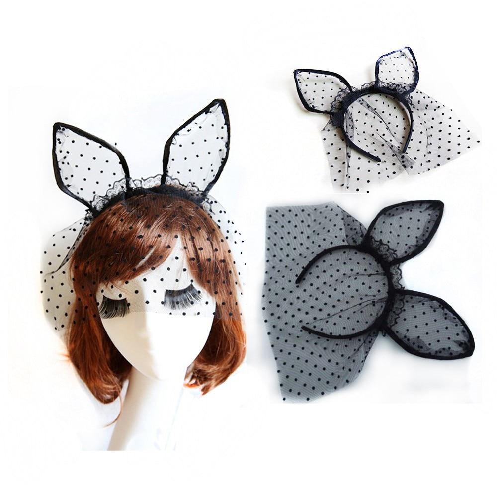 1PC Sexy Black Dot Cat Animal Ears Lace Gauze Veil Hair Mask Headband Headdress Night Club Hair Band Accessories