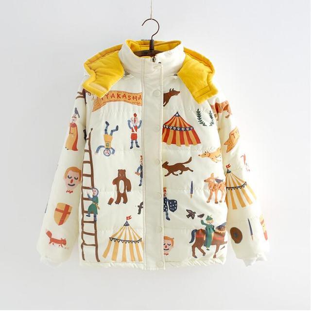 Nuevo Japonés flojo lindo estudiantes juguetón con capucha cremallera chaqueta de la capa engrosada pequeño fresco hembra