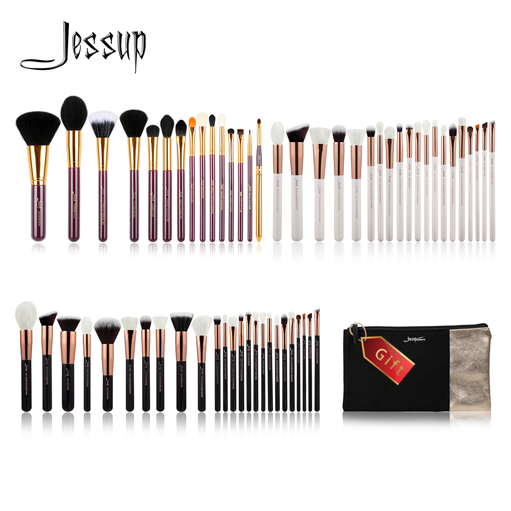 Jessup Buy 3 get 1 gift Makeup Brushes set Foundation Powder Make up Brush Tools Eyeshadow Eyeliner Lip Cosmetics Bag Travel 10pcs makeup brush set jessup synthetic hair beauty tools cosmetics kits make up brushes foundation powder eyeliner concealer