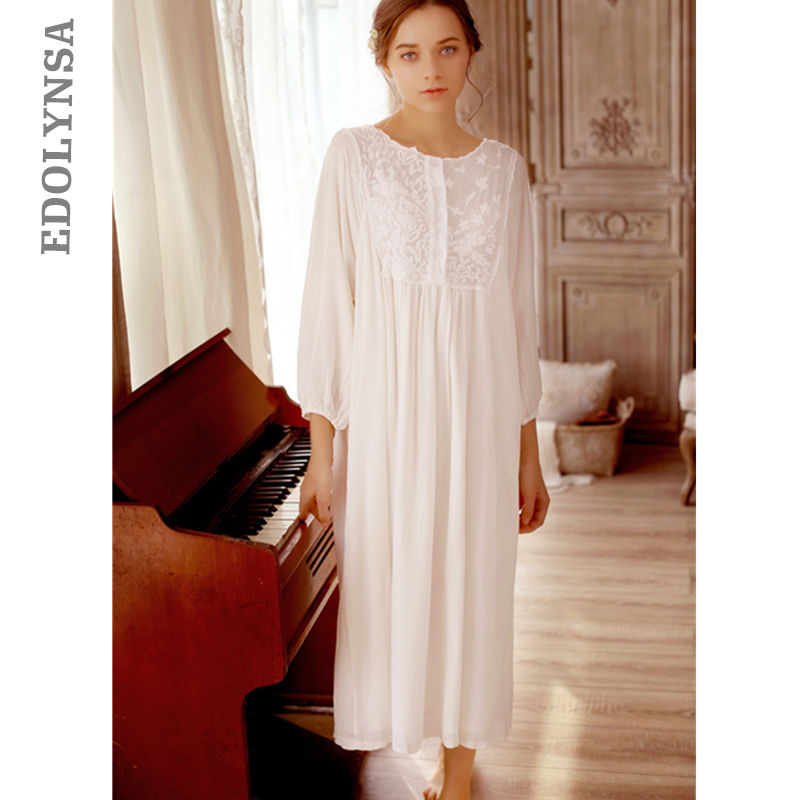 a8f77cc859 Detail Feedback Questions about Sleep Lounge Long White Cotton Embroidery  Nightgown Fancy Loose Sleepwear Princess White Home Dress Elegant Indoor  Clothing ...
