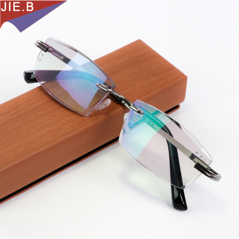 Lüks keyfiyyətli almaz kəsilmiş oxu eynək kişilər rimsiz gözlüklər Presbyopia hiperopiya eynək presbyopik eynəklər