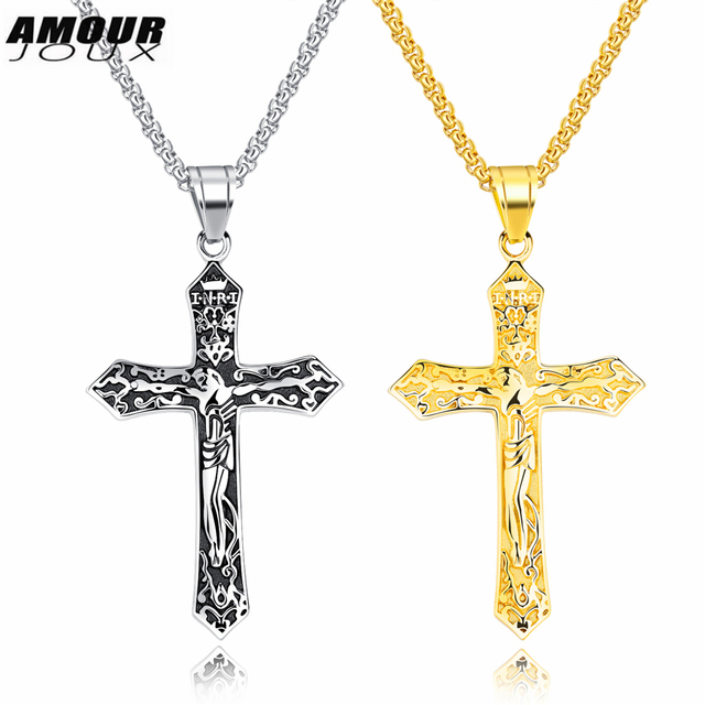AMOURJOUX Christian Retro Silver Gold Color Jesus Christ Engraved ...