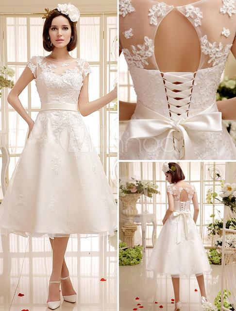 a4365d7c326a 2017 Spring Summer White Short Lace Wedding Dresses Sheer Neck Capped  Sleeves Appliqued Knee Length Vintage