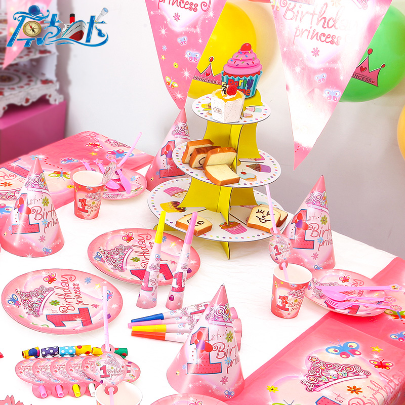 84pcs 1year old Baby Princess Girl birthday party plate napkin