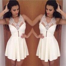 Einfach Sexy Halter Prom Dresses Chiffon A-linie Weiß Cocktailkleider Backless Spitze Appliques Über Knie Modest Formale Kleider