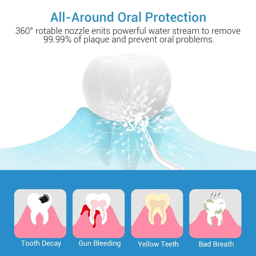 Destone Toocare T7 Water Flosser Cordless Dental Oral Irrigator for Teeth Cleaning IPX7 Waterproof Portable Rechargeable Travel