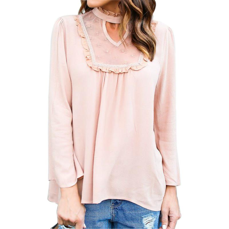 2017 Women Blouses Casual Loose Chiffon Shirts Lace Stitching Long Sleeved Summer Shirt Feminine Blouse For Woman LJ8418X in Blouses amp Shirts from Women 39 s Clothing