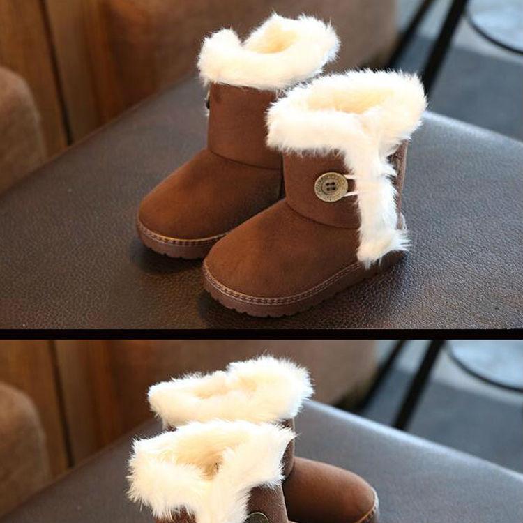 1_07Childrens boots, plush snow boots, non-slip, waterproof, warm, rubber, suede, boy, girl, children, shoes, outdoor thickening, winter