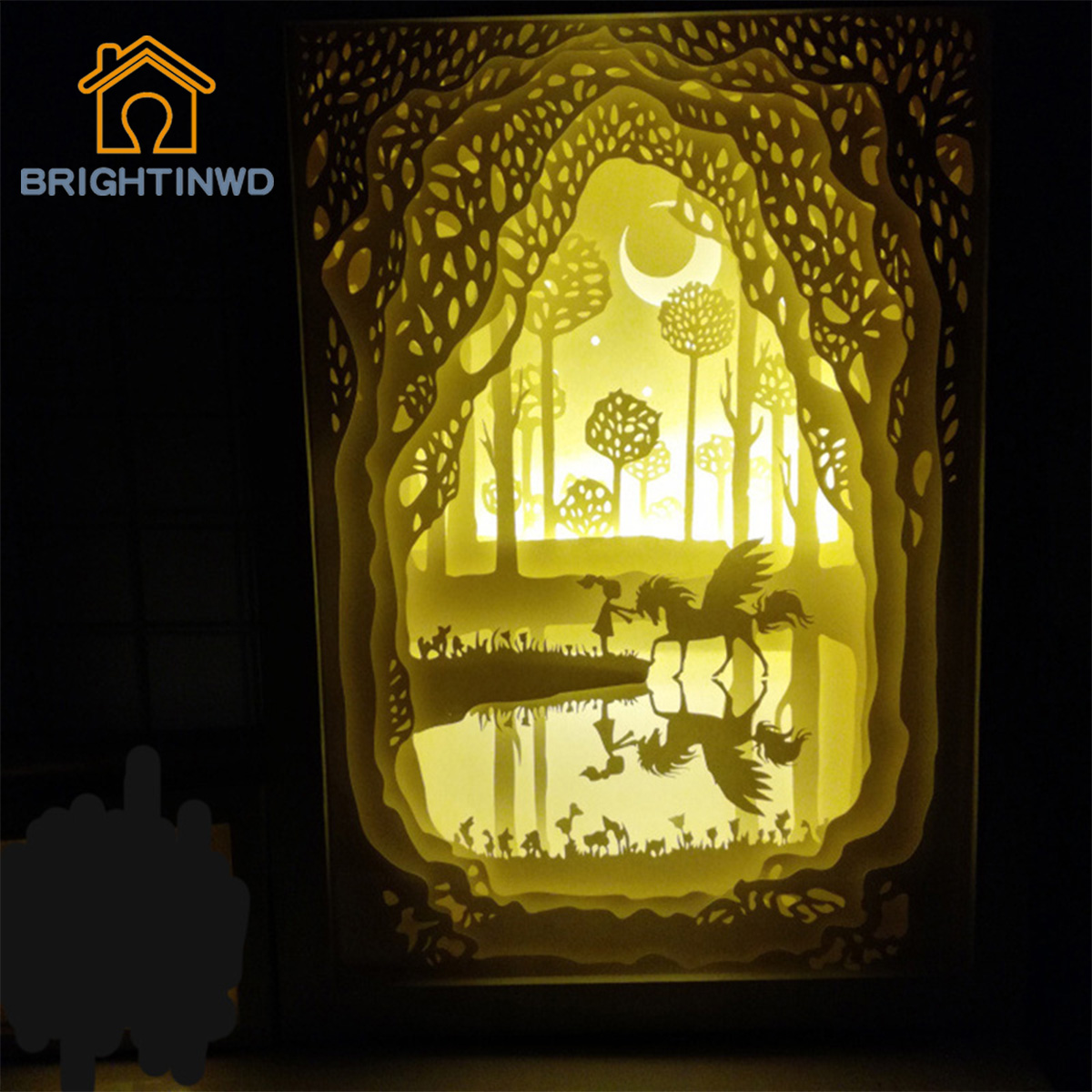 BRIGHTINWD LED Light And Shadow Paper Lamp Meet Innocence  Night Light Personalized Gifts декоративні лампи із дерева у стилі бра