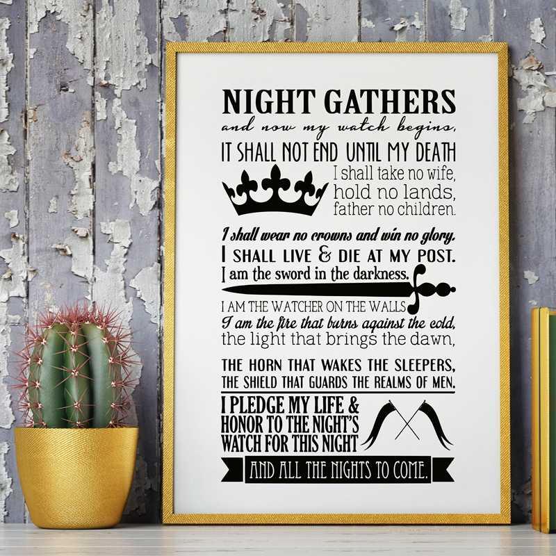Игра престолов плакат ночной часы клятва печать бутылка для освежителя воздуха, Игра престолов художественная стена с цитатой холст картина плакат