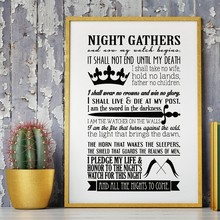 Game of Thrones Poster Night's Watch Oath Prints Boys Room Decor , Game of Thrones Quote Wall Art Canvas Painting Poster(China)