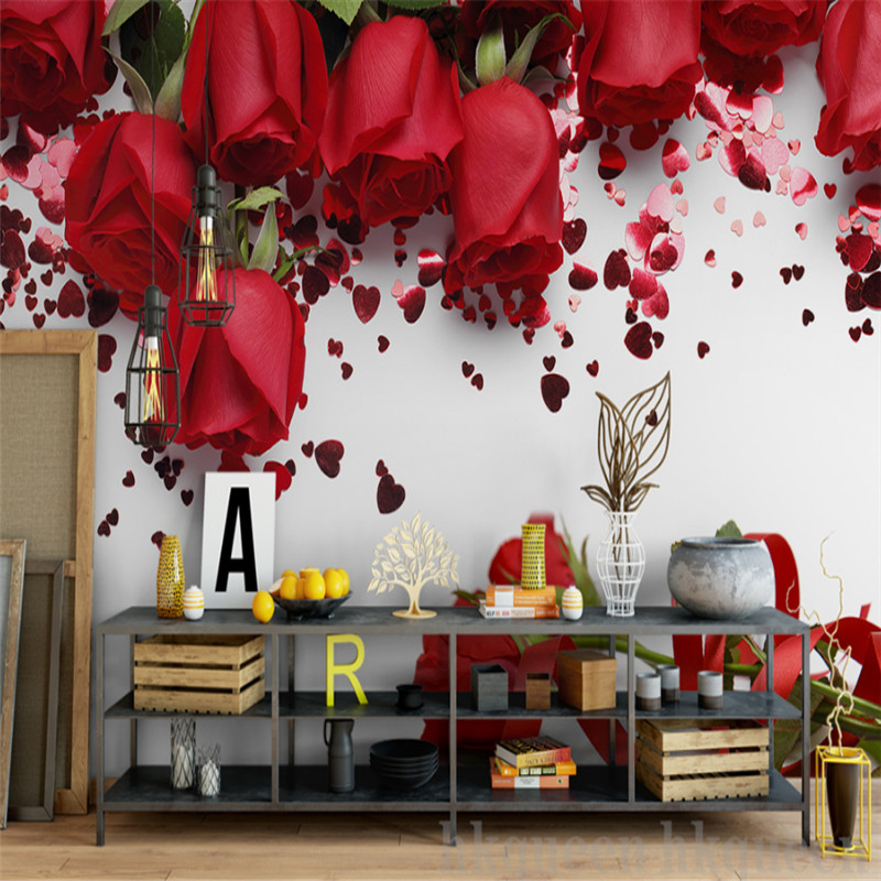 custom 3d photo wallpaper wall 3d non-woven mural wallpaper modern simple red rose romantic mural background wall home decor beibehang papel mural arrival romantic warm dandelion wedding decor 3d wallpaper non woven wallpapers mural floral wall pape