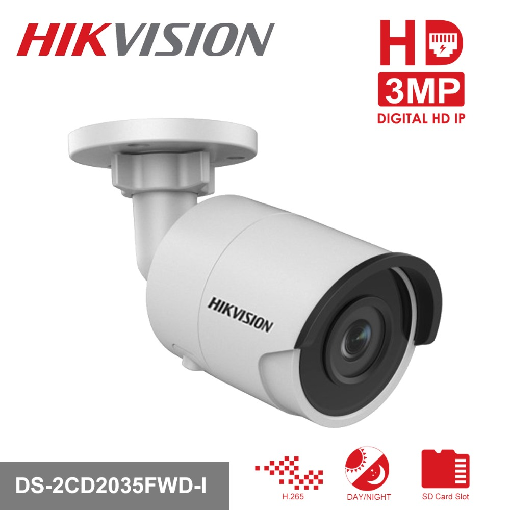 HIKVISION CCTV Camera H.265 IP Camera DS-2CD2035FWD-I 3Megapixels Ultra-Low Light Network Bullet Camera with IR Night Version english version ds 2cd2035fwd i 3mp mini ultra low light network bullet ip camera poe wdr 30m ir sd card h 265