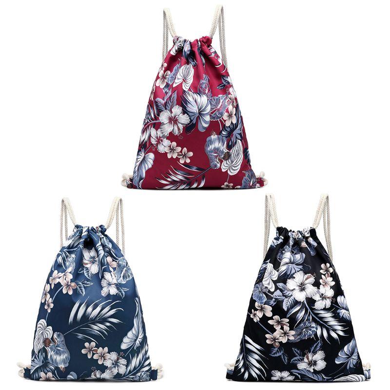 Women Floral Print Backpack Drawstring Canvas Rucksack Shoulder Bag Daypack Satchel Travel BagsWomen Floral Print Backpack Drawstring Canvas Rucksack Shoulder Bag Daypack Satchel Travel Bags