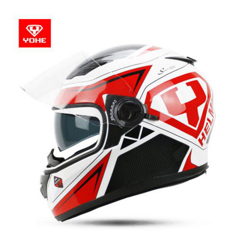 2018 Winter New YOHE Double lens Full Face Motorcycle Helmet Knight protection ABS Motorbike Helmets with PC Lens visor 11 color 2018 new spring summer yohe full face motorcycle helmet yh970 double lens motorbike helmets made of abs and pc lens visor
