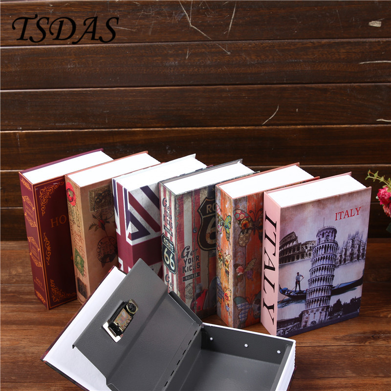 Coded Lock Storage Boxes Metal Cash Secure Hidden Scenery Book Safe Money Box Coin Storage Free Ship