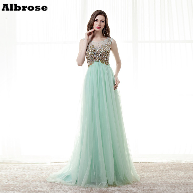 ᐊBling Sparkling Charming Mint Long evening dress Illusion ...
