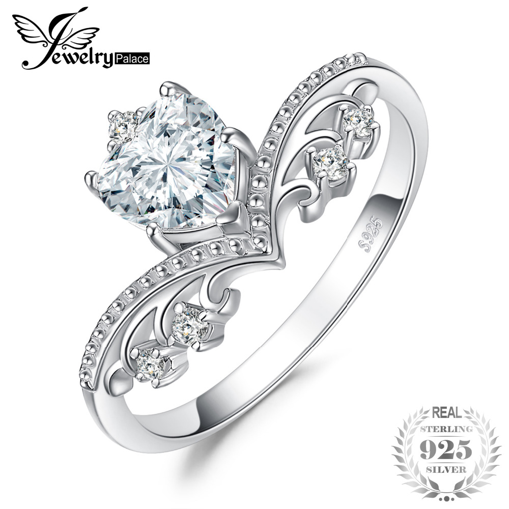 JewelryPalace Vintage Heart 1.2ct Cubic Zirconia Anniversary Promise Solitaire Engagement Ring 925 Sterling Silver 2018 New HotJewelryPalace Vintage Heart 1.2ct Cubic Zirconia Anniversary Promise Solitaire Engagement Ring 925 Sterling Silver 2018 New Hot