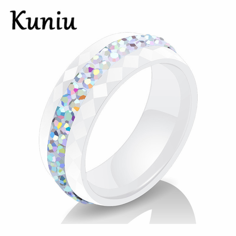 8mm wide Comfort Fit Multi-faceted Black/white Ceramic Ring With Color CZ Jewelry Women Engagement ring Dropshipping