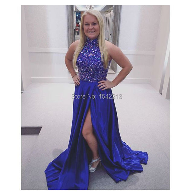 High Neckline Shiny Beaded Royal Blue Prom Dress With Sexy Side Silt