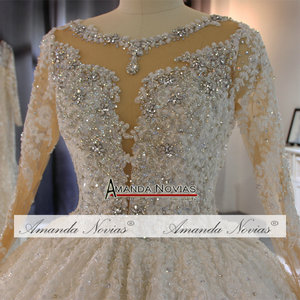 Image 4 - Gelinlik vestido de noche volledige kralen luxe sparkling bling bling trouwjurk amanda novias echte werk