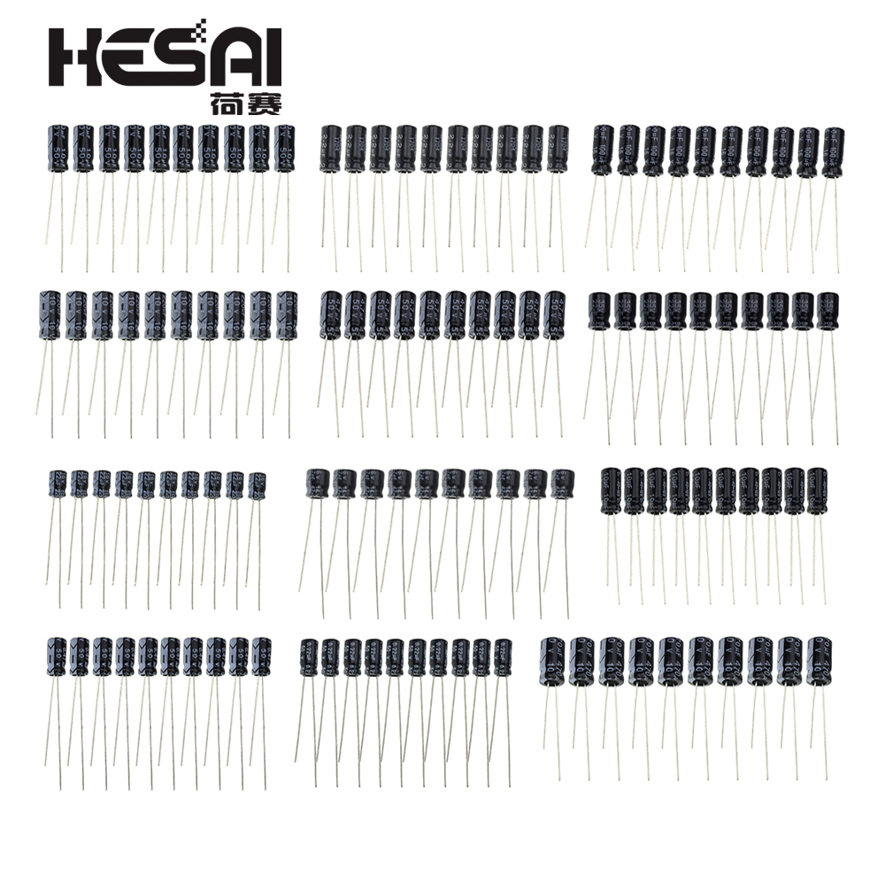 120pcs/set 12 Values 0.22UF-470UF Aluminum Electrolytic Capacitor Assortment KIT