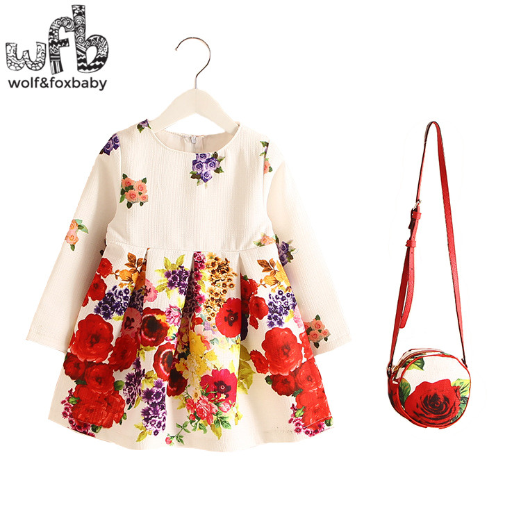 Retail 2-8years Dress+Bag/set New Cute Kids Baby Girl Summer Spring Fall Long-Sleeve Perfume Princess Flower Pink Flora l2016 2 10yrs girls dress kids princess dress long sleeve baby girl cute palace style blue and white floral embroidery spring 2017 new