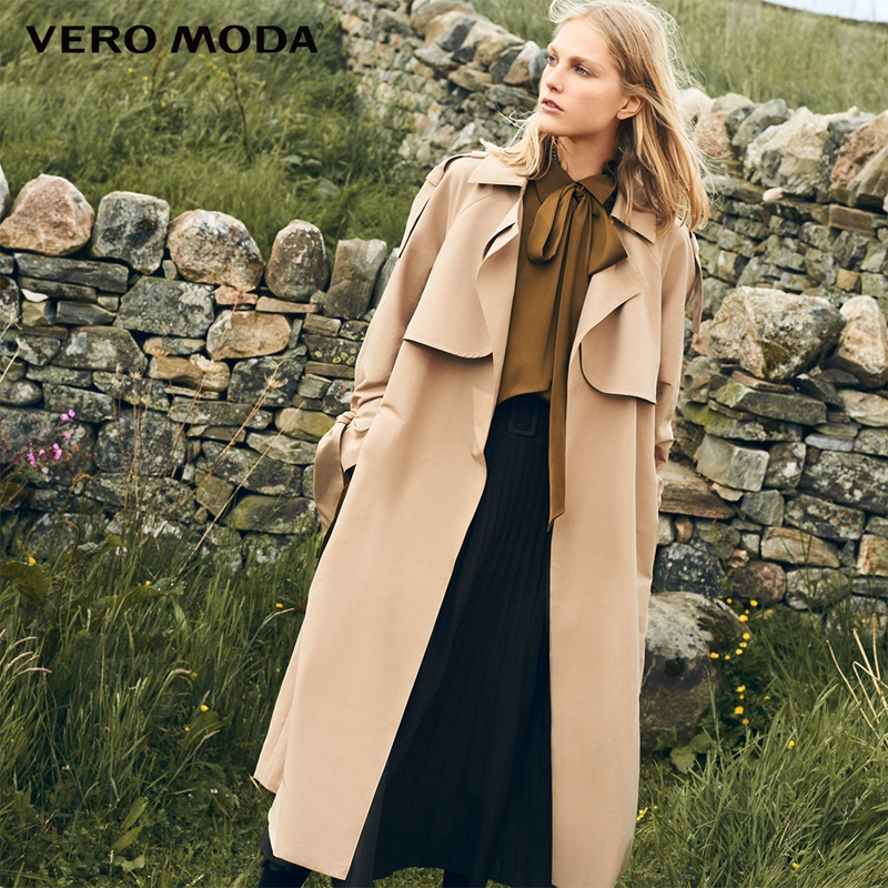 Vero Moda 2019 new windshield design cuffs decorated long   trench   coat|318321508