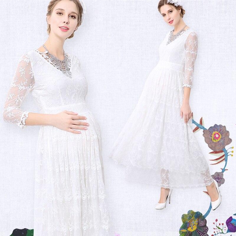Melario платье для беременных 2018 для беременных Подставки для фотографий платье для беременных v-образным вырезом Кружевная летняя женская оде...