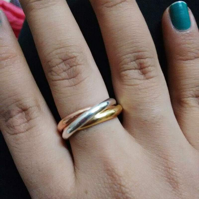 New Fashion 1pc Women S Wedding Band Ring Stainless Steel Three