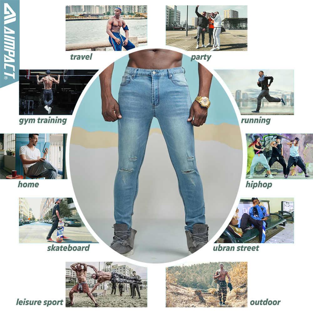 Aimpact de los hombres Jeans vaqueros Slim Hola calle apenado Denim Joggers rodilla agujeros lavado destruido Vaqueros Skinny AM5035