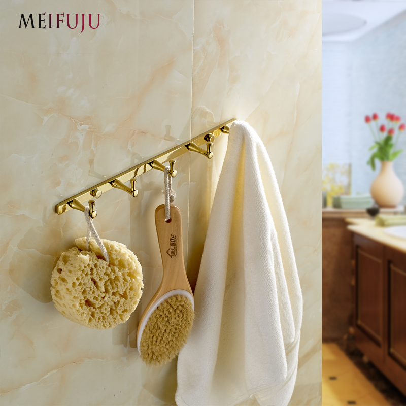 European Style Gold Plate Wall Hook Bathroom Accessories Metal Coat Hooks Hanger Clothes Rack Hangers Brass Multi-hook Row hook цена