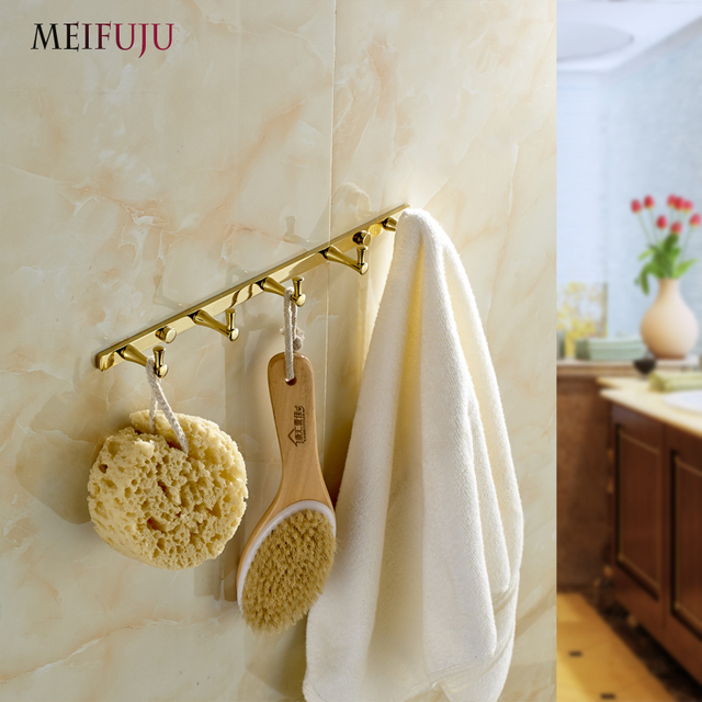European Style Gold Plate Wall Hook Bathroom Accessories Metal Coat Hooks  Hanger Clothes Rack Hangers Brass