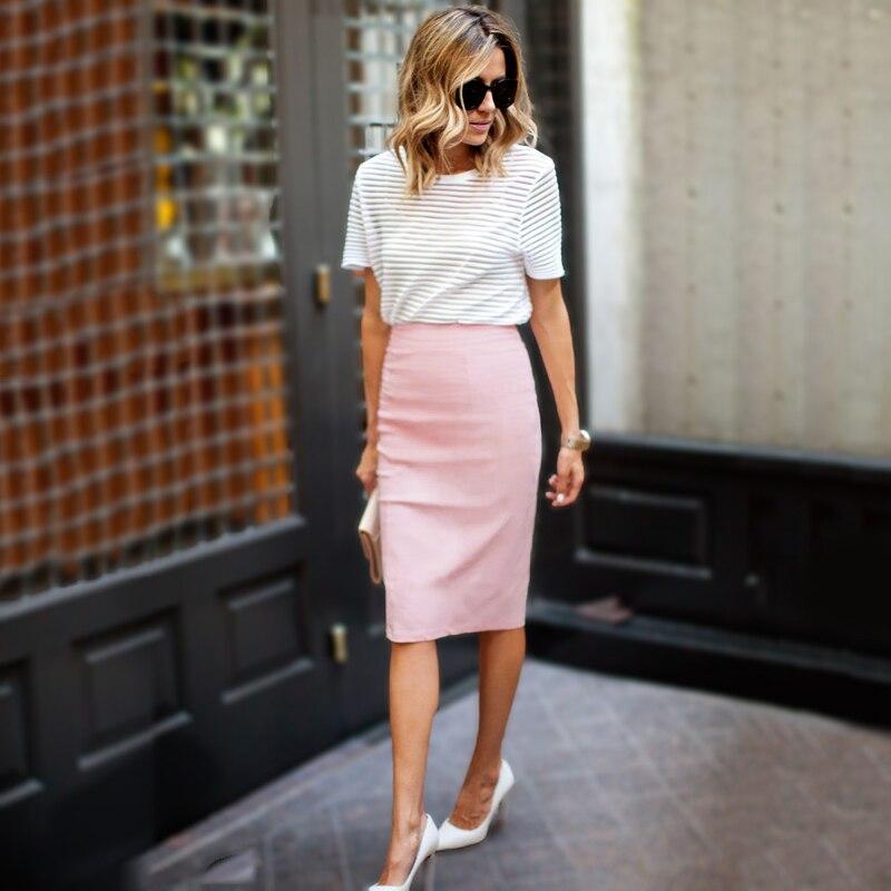 2017 Women Pencil Skirt High Waist Casual Knee-Length Slim Bodycon Skirt