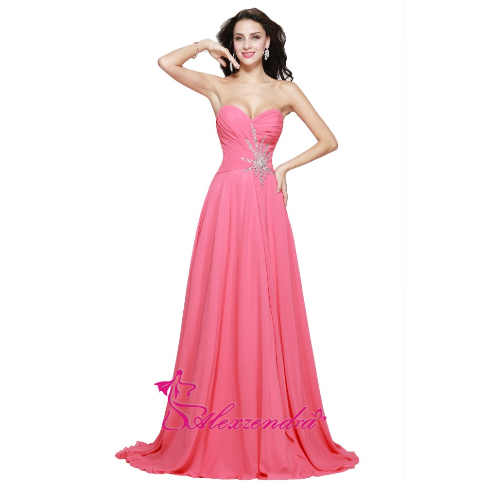 Alexzendra A Line Pink Long Chiffon   Bridesmaid     Dresses   for Bride Sweetheart Beaded Party   Dress   for Wedding